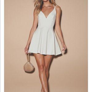 White backless skater dress